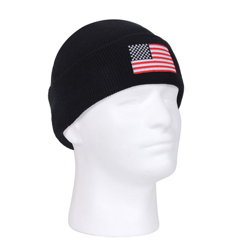 US Flag Embroidered Knit Cap - View
