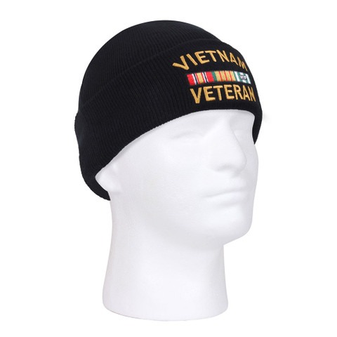 Deluxe Embroidered Vietnam Veteran Watch Cap - Side View