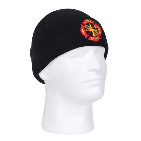Deluxe Fire Dept.Embroidered Watch Cap - Side View