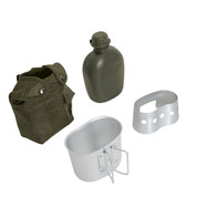 Olive Drab 4 Piece Canteen Kit /w Cover, Cup, Stove/Stand - View