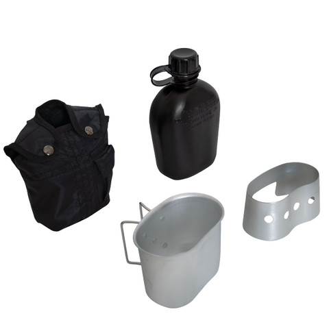 Black 4 Piece Canteen Kit /w Cover, Cup, Stove/Stand - View