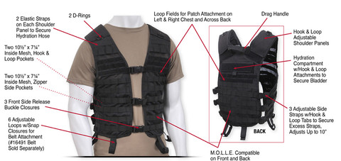 Rothco Lightweight MOLLE Utility Vest - Full Photo Detail Info