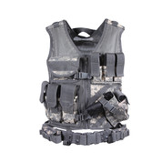 ACU Digital Camo MOLLE Cross Draw Tactical Vest - Front View