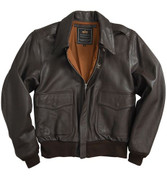 Alpha A-2 Leather Flight Jacket - Brown