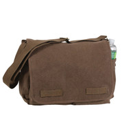 Classic Vintage Brown Canvas Messenger Bag - View