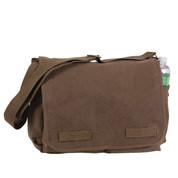 Classic Vintage Brown Canvas Messenger Bag - View