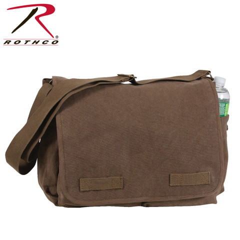 Classic Vintage Brown Canvas Messenger Bag -  Rothco View