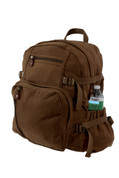 Vintage Brown Canvas Jumbo Backpack - Angle View