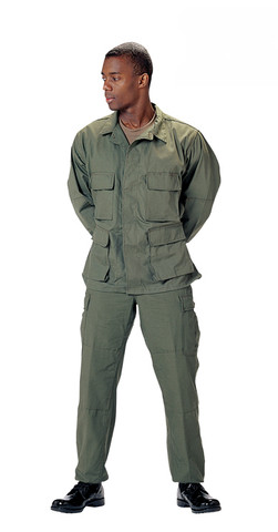Olive Drab Ripstop Cotton BDU Fatigue Pants - Model View