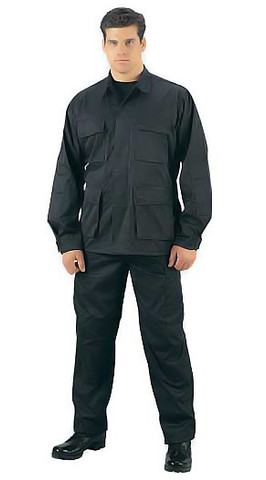 Rothco Black Ripstop Cotton BDU Fatigue Pants - Full View