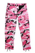 Pink Camo BDU Fatigue Pants - Front View