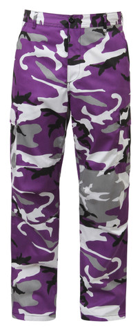 Purple Camo BDU Fatigues Pants - Front View