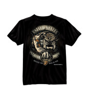 Black Ink Design USMC Bulldog T Shirt - Front View