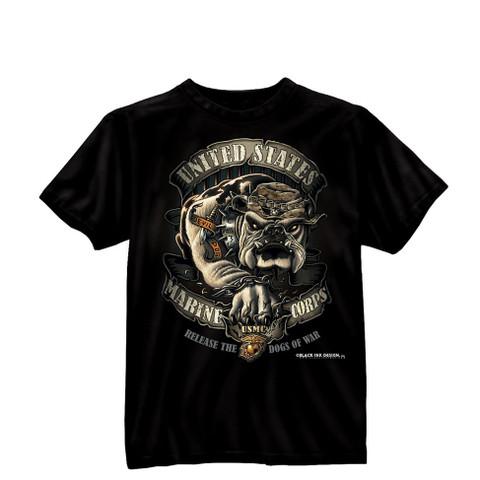 Black Ink Design USMC Bulldog T Shirt - Front View