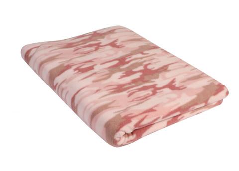 Baby Pink Camo Fleece Blanket - View