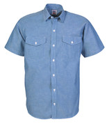Big Bill Chambray Cotton Short Sleeve Work Shirt - Front View
