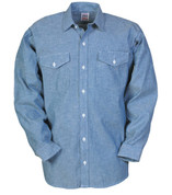 Big Bill Chambray Cotton Long Sleeve Work Shirt - Full View