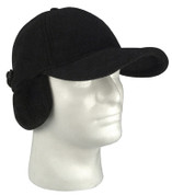 Black Polar Fleece Low Profile Cap w/Earflaps - View