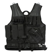 Black Cross Draw MOLLE Tactical Vest - Front View