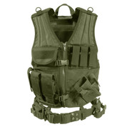 Tactical Olive Drab Cross Draw Vest - Front View