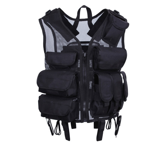 Rothco Black Tactical SWAT Vest - Front View