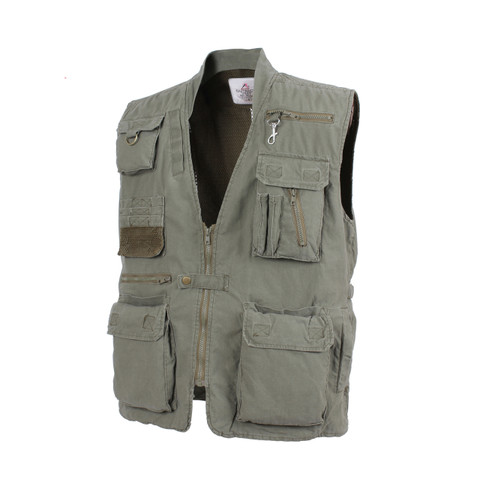 Olive Drab Deluxe Safari Outback Vest - Side View