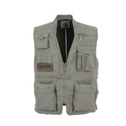 Olive Drab Deluxe Safari Outback Vest - Front View