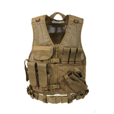 Coyote Cross Draw MOLLE Tactical Vest - Front View