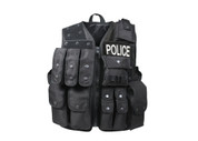 Black Tactical Raid Vest - Front View