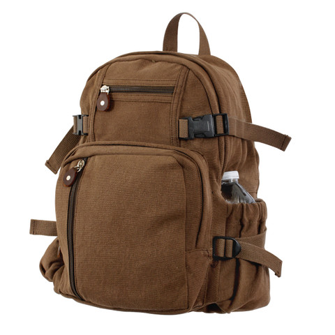 Vintage Brown Canvas Compact Daypack - View