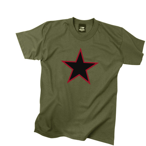 Olive Drab Star Republic T Shirt - Front View