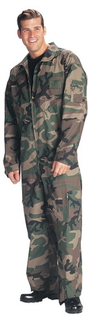 Woodland Camo Military Air Force Style Flight Suit - View