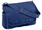 Vintage Blue Canvas Messenger Bag - Close Up View