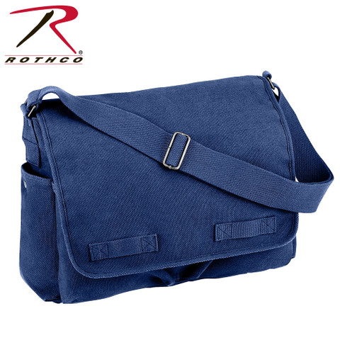 Vintage Blue Canvas Messenger Bag - Rothco View