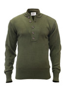 Olive Drab 5-Button Acrylic Fatigue Sweaters - Front View