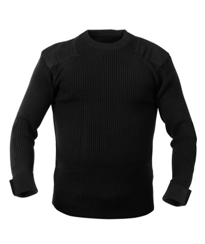 Military Black Acrylic Commando Sweaters - Full View