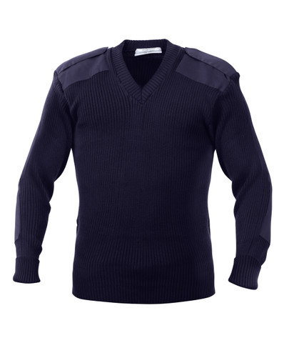 Police Navy Blue Uniform V Neck Sweater - Full View
