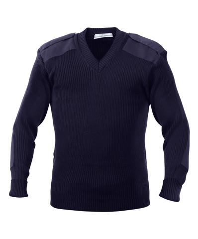 Police Navy Blue Uniform V Neck Sweater - Full View