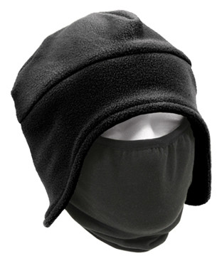 Black Convertible Polar Fleece Cap / Face Mask - View