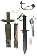 Deluxe Jungle Survival Kit Knife - Olive