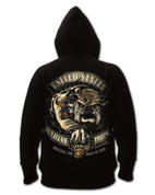 Black Ink USMC Bulldog Hooded Pullover Sweatshirt - Back View