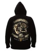 Black Ink USMC Bulldog Hooded Pullover Sweatshirt - Back View