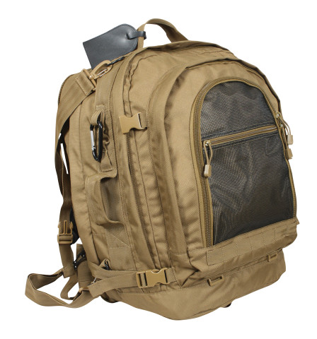 Coyote Brown Move Out Tactical / Travel Backpack - Front View