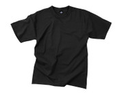 Black T Shirts - Poly/Cotton - Flat View