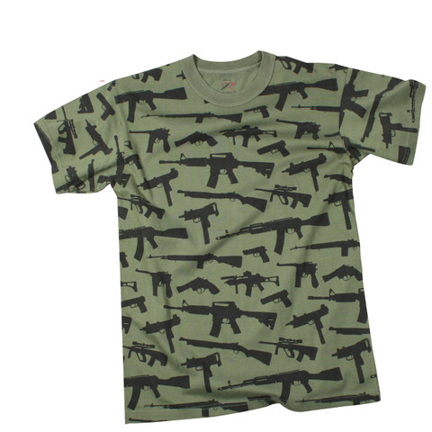 Multi Print M-16 Guns T Shirt - View