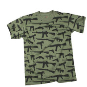 Multi Print M-16 Guns T Shirt - View