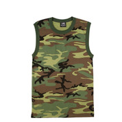 Camo Muscle T Shirt - View