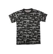 Multi Print Black M-16 Guns T Shirt - View