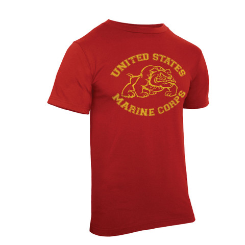 Vintage Red U.S.Marine Bulldog T Shirt - Side View