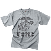 Vintage Grey USMC Globe & Anchor T Shirt - View